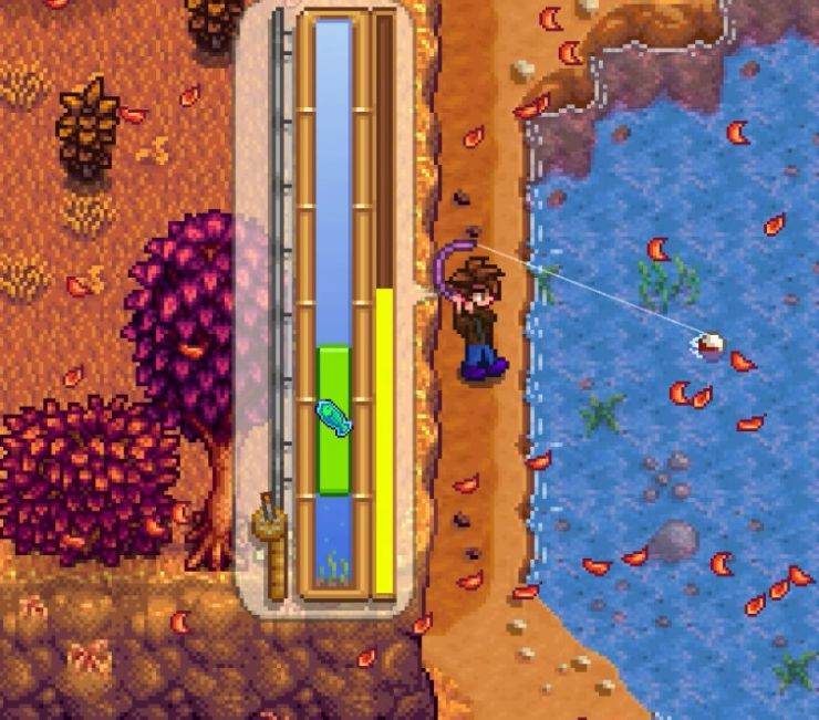 Catching a fish at the river in Stardew Valley